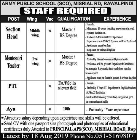 Army Public School Jobs 2019 For Section Head, Teacher & Others
