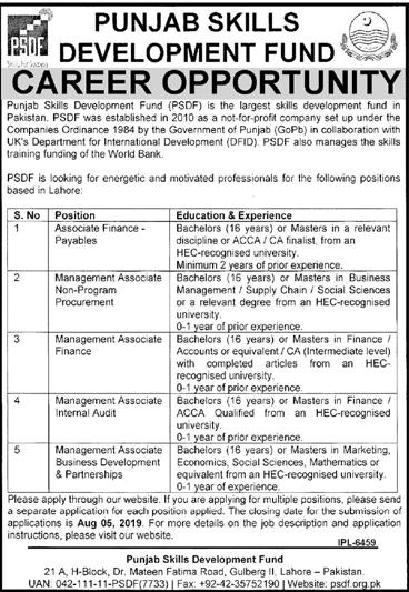 PSDF Jobs 2019 - Punjab Skills Development Fund Jobs 2019