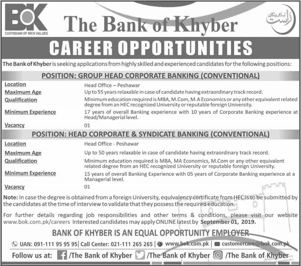 Bank of Khyber Jobs 2019 BOK - Latest Vacancies - Apply Online