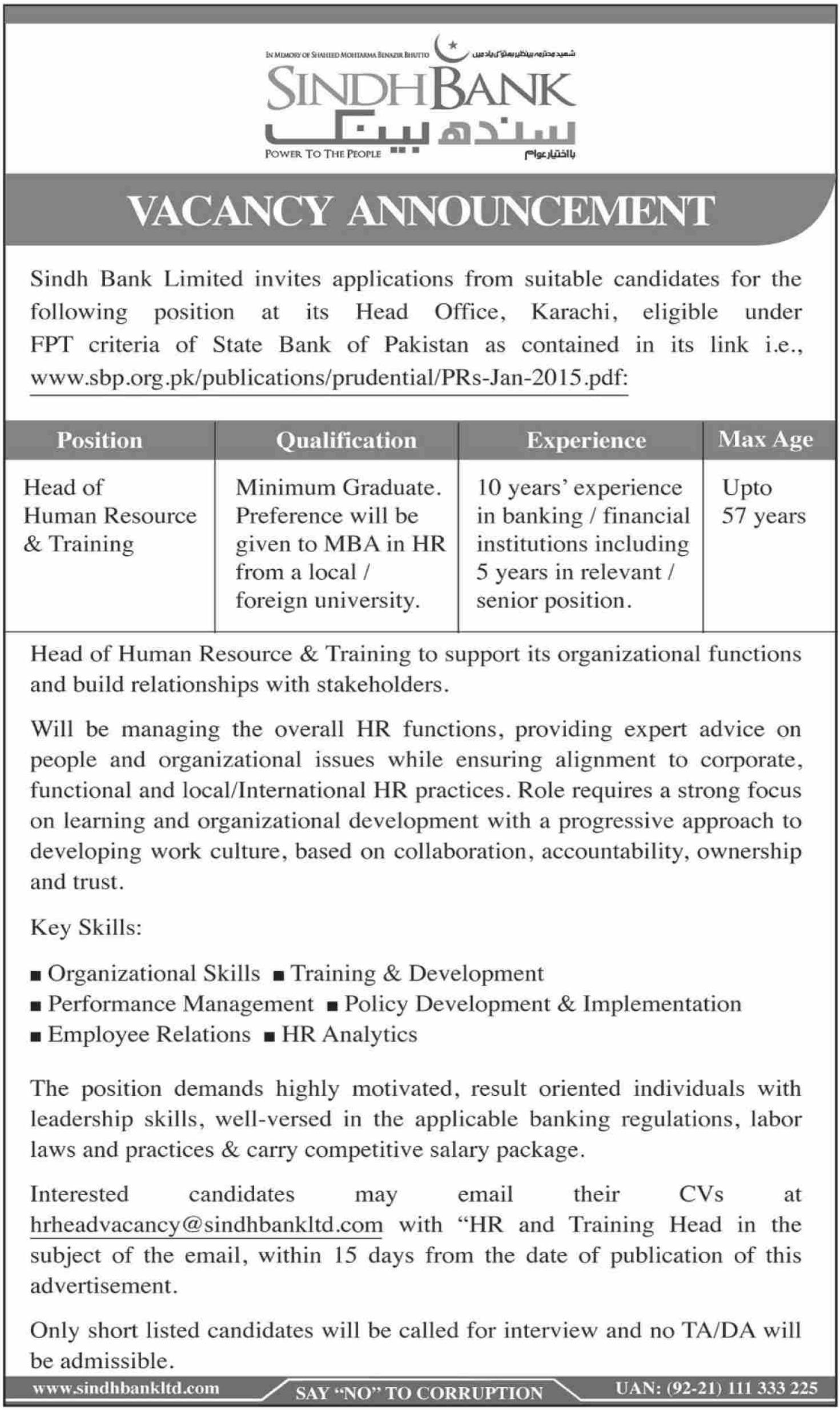 Photo of Sindh Bank Ltd Jobs 2019 – Latest Advertisement