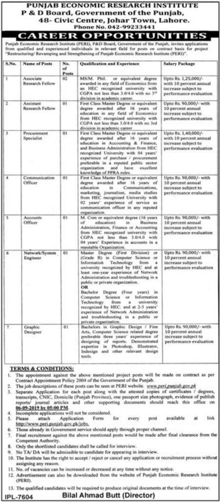 Punjab Economic Research Institute P&D Board Govt of Punjab Jobs 2019