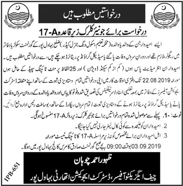 Education Department Jobs August 2019 For Junior Clerk