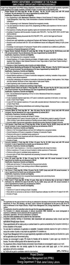 Energy Department Government of Punjab Jobs 2019 - Online Registration