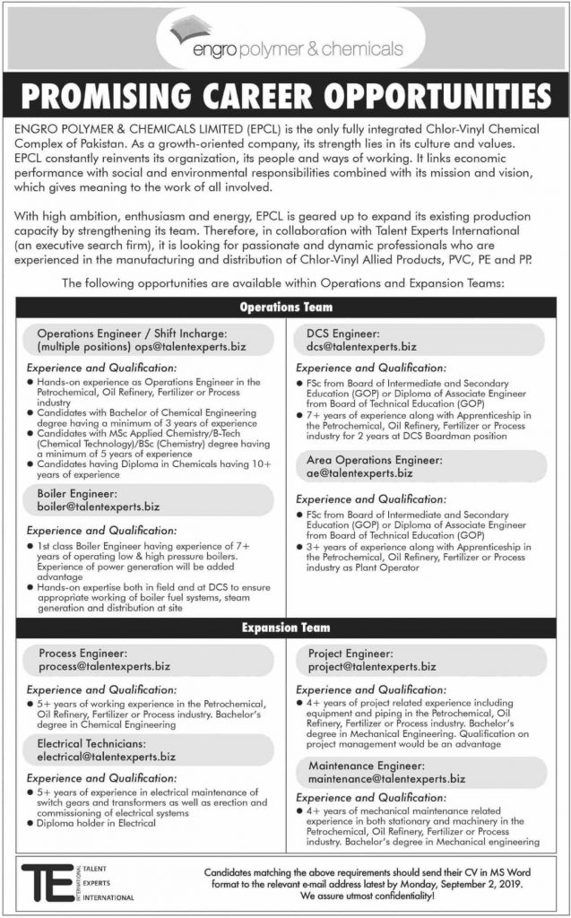 Engro Polymer & Chemicals Limited EPCL Jobs 2019
