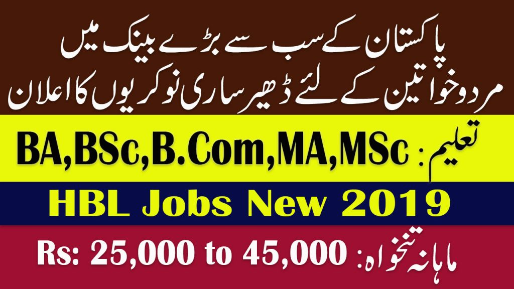 HBL Bank Jobs August 2019 - 200 Cash Officer Jobs for Male / Female