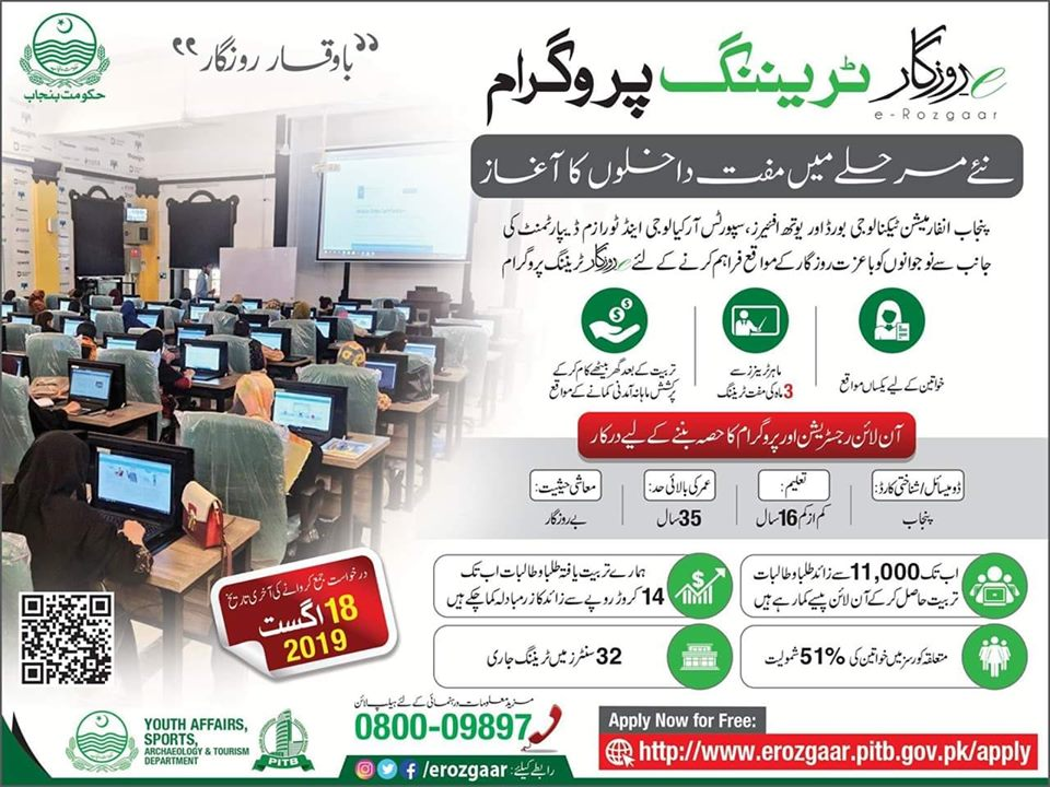 E-Rozgar Traning program August 2019- Earn up to Rs.80,000//= per month