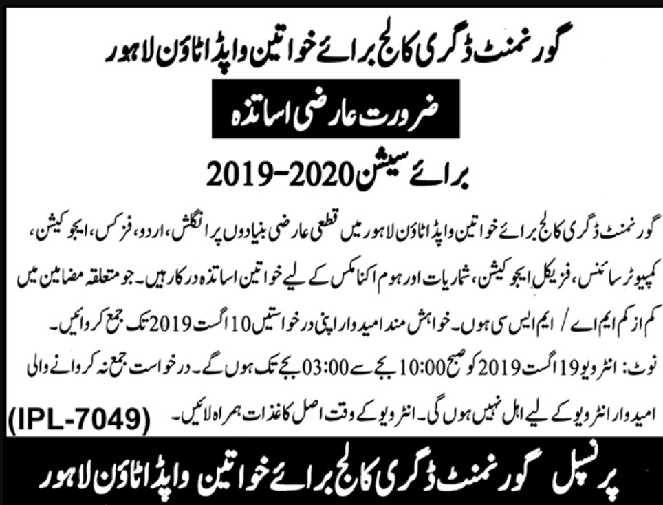 Govt Degree College for Women Wapda Town Lahore Jobs 2019 For Lecturer