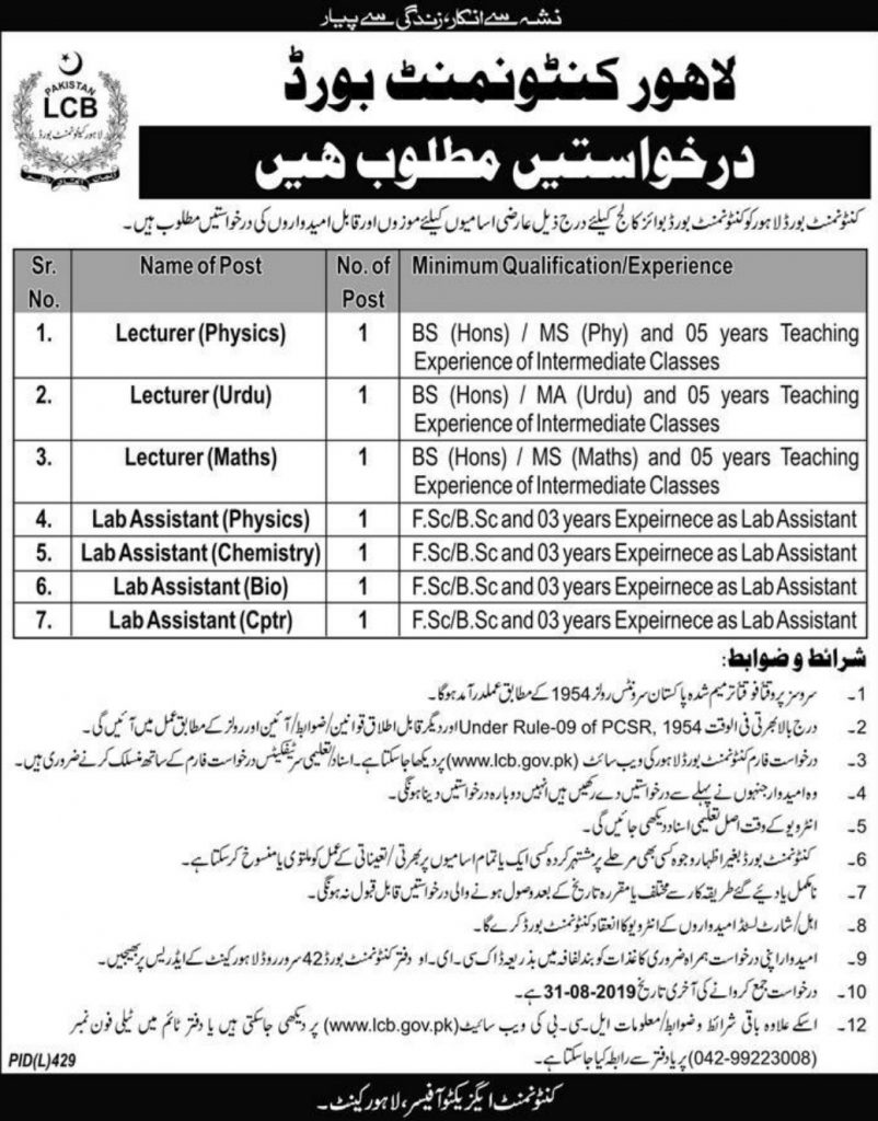 Lahore Cantonment Board Jobs 2019 For Lecturer in Boys College