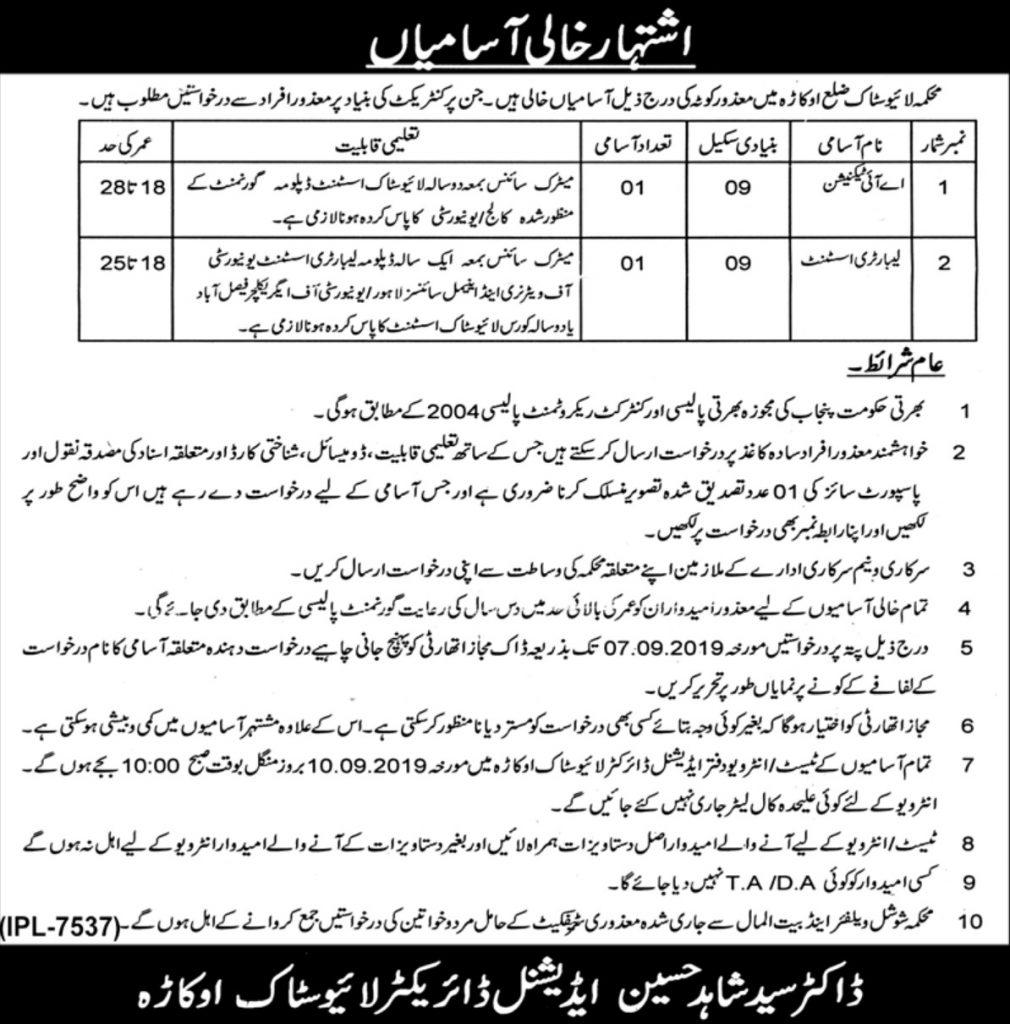 Punjab Livestock Department Okara Jobs 2019 - Latest Vacancies