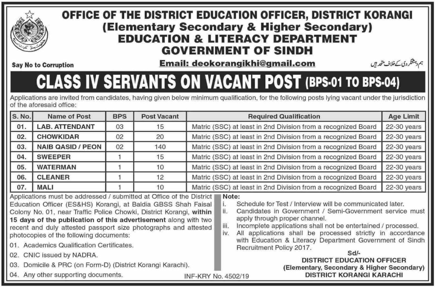 Photo of Education & Literacy Department Govt of Sindh Jobs 2019 Karachi job