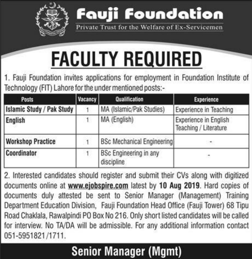 FIT Lahore Jobs 2019 For Lecturer - Foundation Institute of Technology