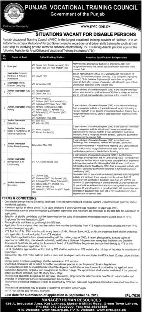 Punjab Vocational Training Council PVTC Jobs 2019 by NTS