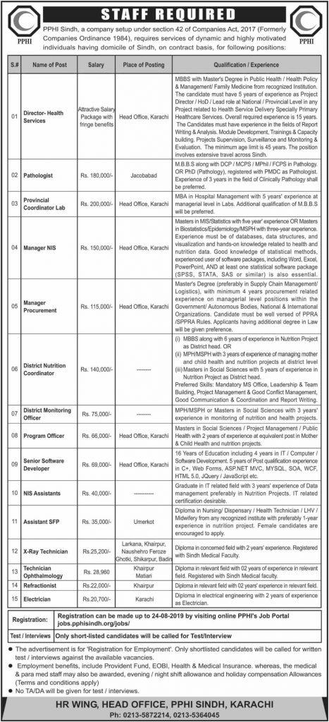 PPHI Sindh Jobs August 2019 - Latest new Jobs - Online Registration