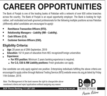 Bank of Punjab Jobs 2019