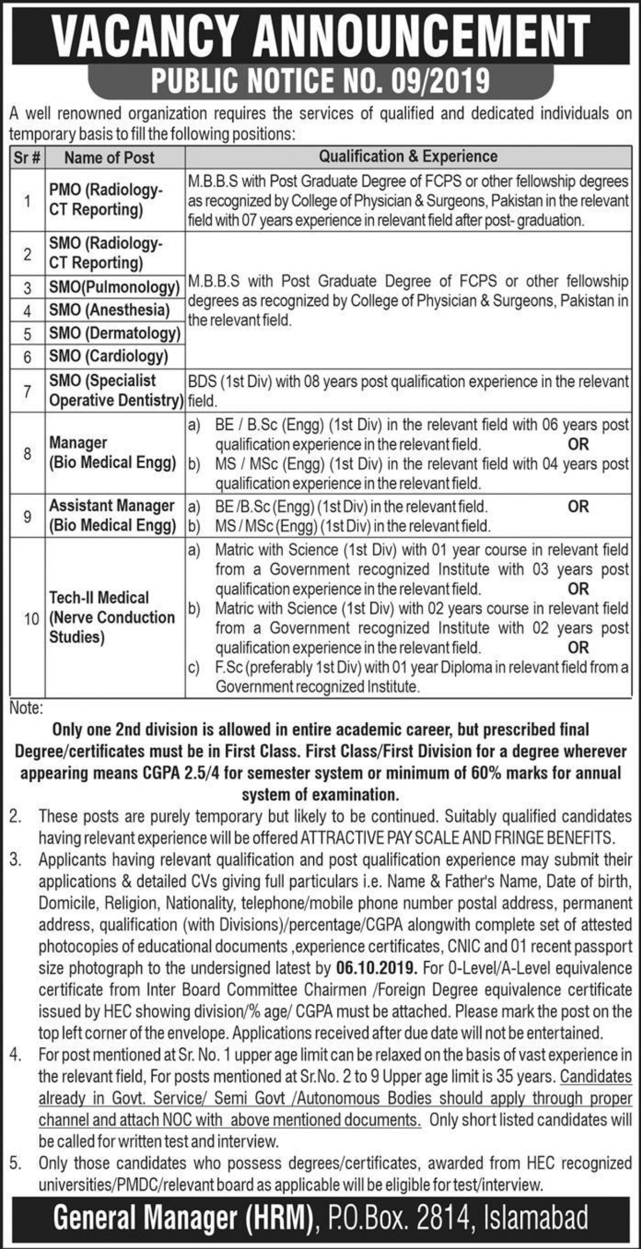 P.O.Box 2814 Islamabad Jobs 2019