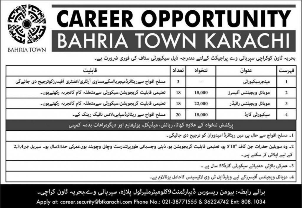 Bahria Town Karachi Jobs 2019 - Total Positions 559+