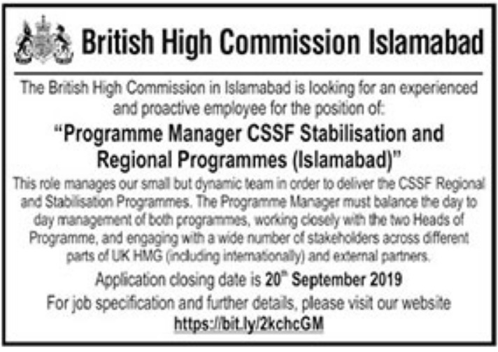 British High Commission Islamabad Jobs 2019