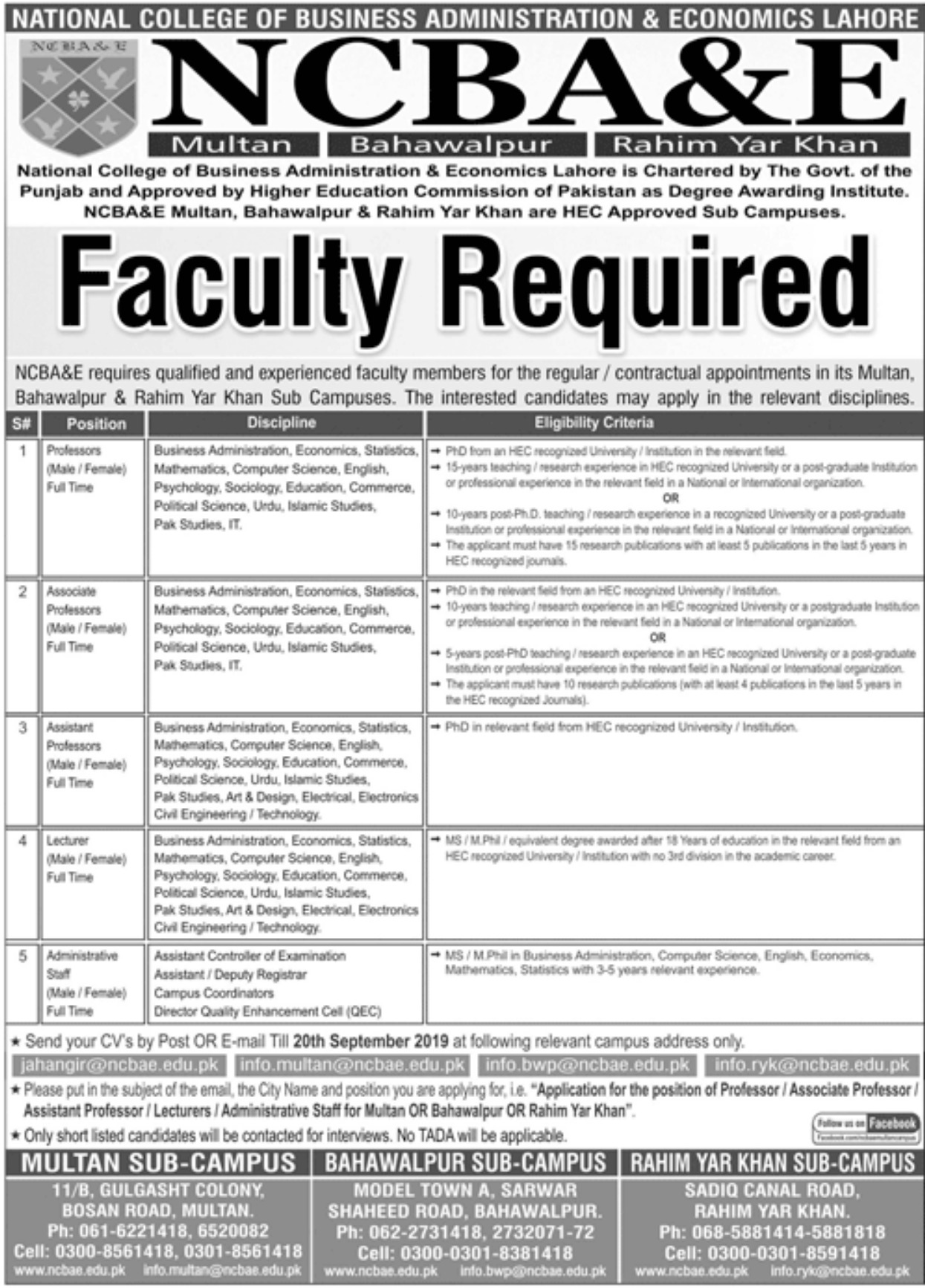 Photo of NCBA&E Jobs September 2019 For Professors, Lecturer, Administrative Staff