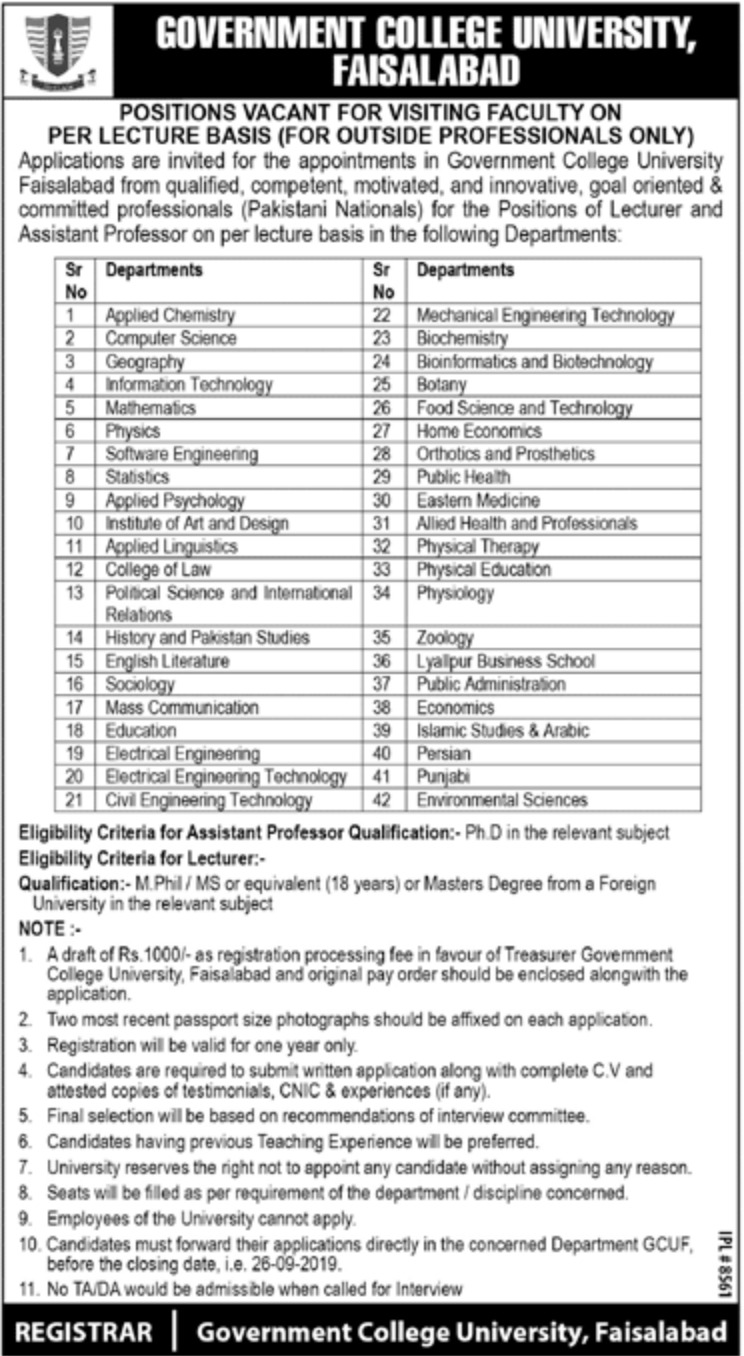 GCUF Jobs 2019 For Lecturer
