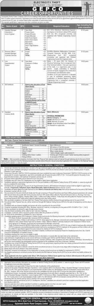 WAPDA GEPCO Jobs 2019 | 870+ Vacancies By NTS | Gujranwala Electric Power Company