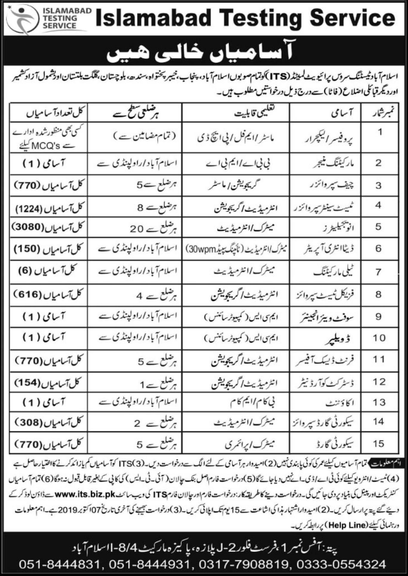 Photo of Islamabad Testing Service Jobs 2019 – (7852 Posts) ITS Invigilators Jobs 2019