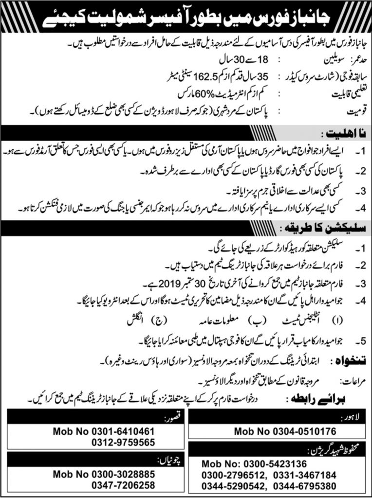 Join Janbaz Force Jobs 2019 as Officer - 200+ Vacancies - Download Application