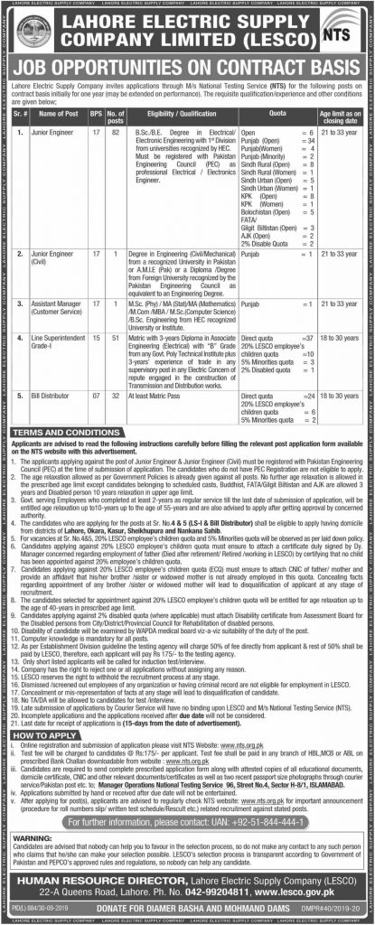 LESCO Jobs October 2019 By NTS
