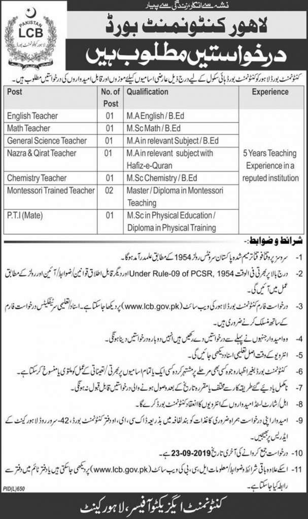 Lahore Cantonment Board LCB Jobs 2019 For Teaching