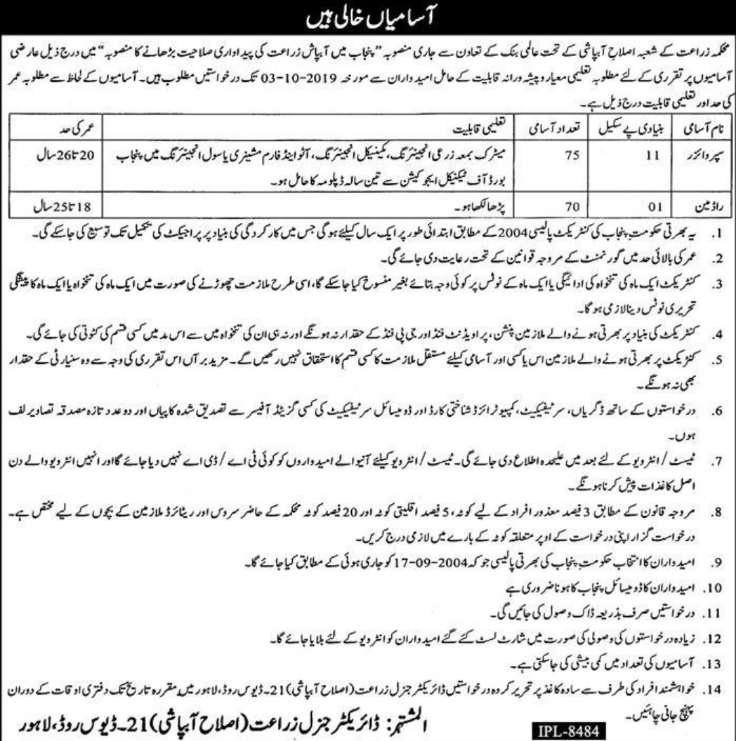 Punjab Agriculture Department Jobs