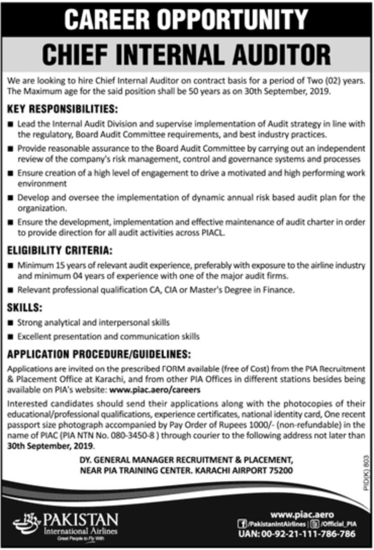 Photo of PIA Jobs 2019 – Pakistan International Airlines Latest Vacacancies