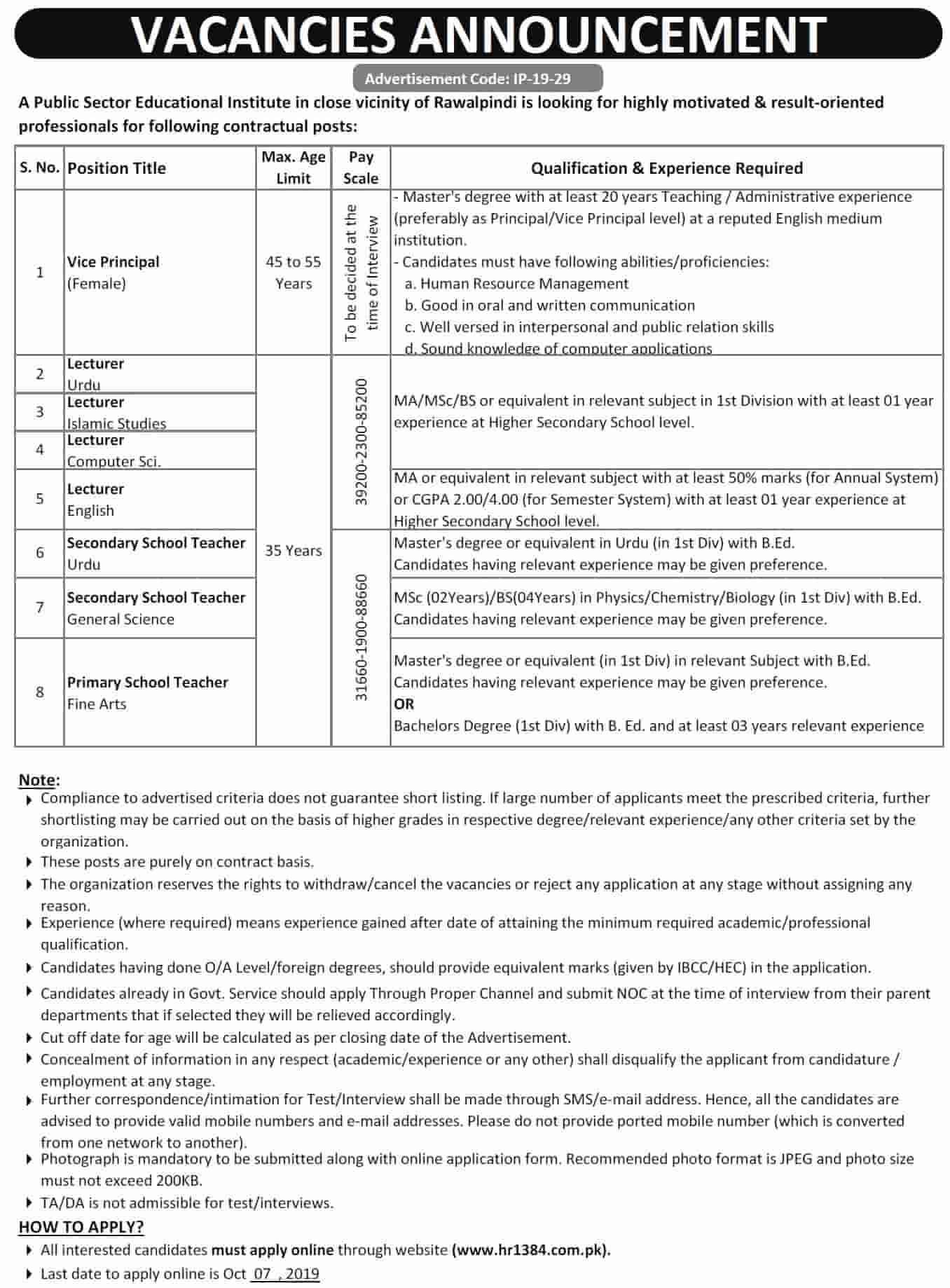 HR 1384 Jobs 2019 For Teaching