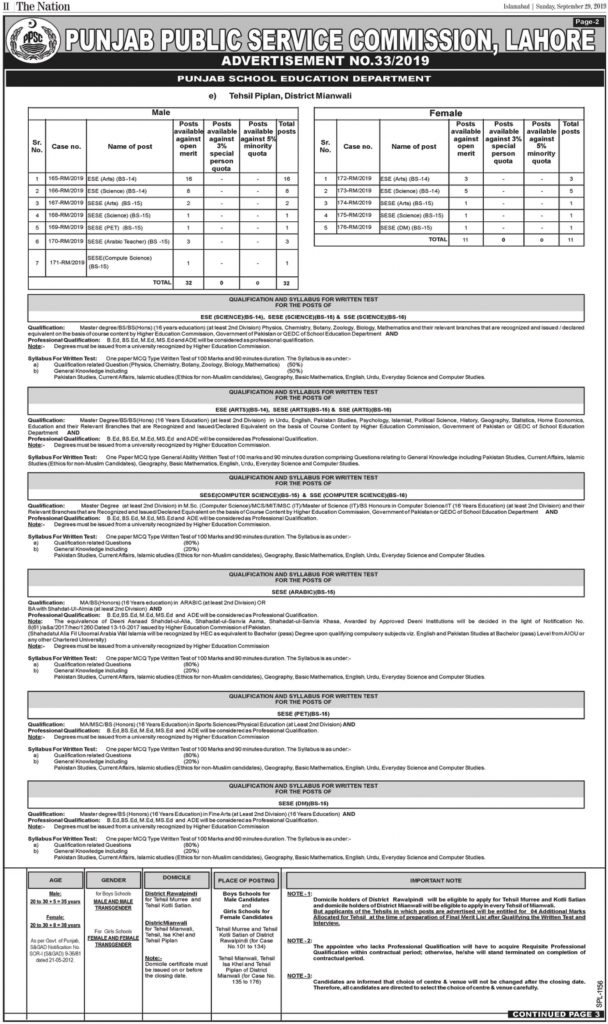 PPSC Educator Jobs October 2019 For ESE, SESE, SSE (779 Posts) - Online Apply