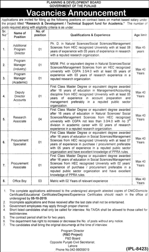 Planning and Development Department Punjab Jobs 2019