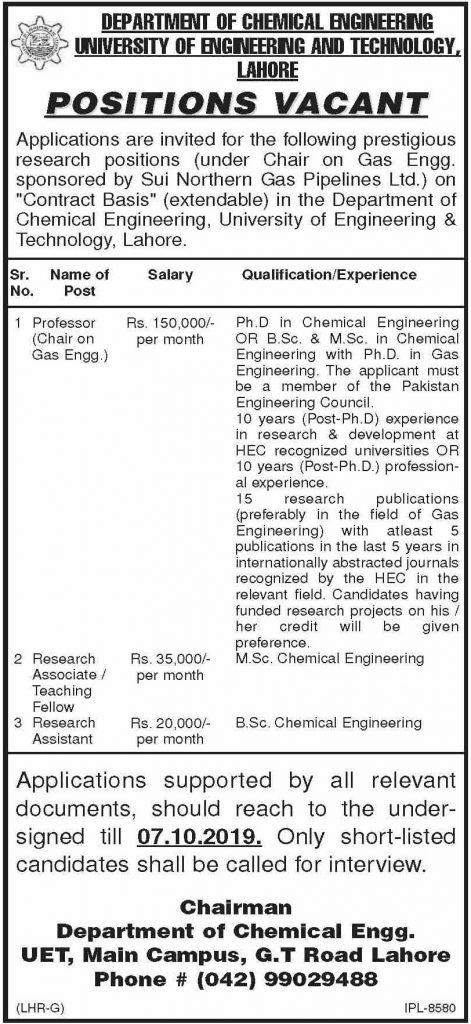 UET Lahore Jobs 2019