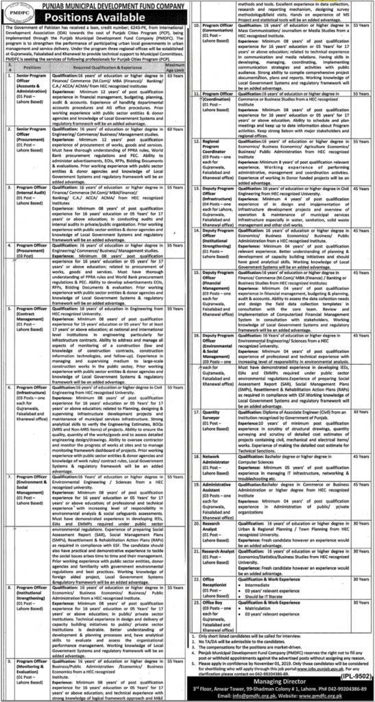 PMDFC Punjab Jobs 2019