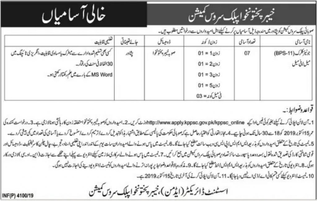 KPPSC Jobs October 2019