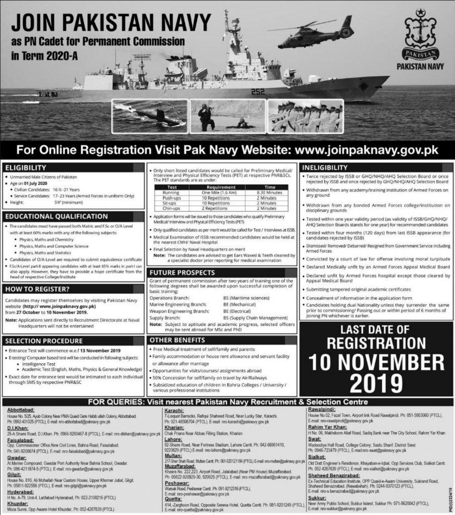 Join Pak Navy as PN Cadet 2020 A | 500 Posts | Online Registration