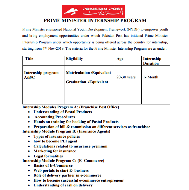 Pakistan Post Internship Program 2019