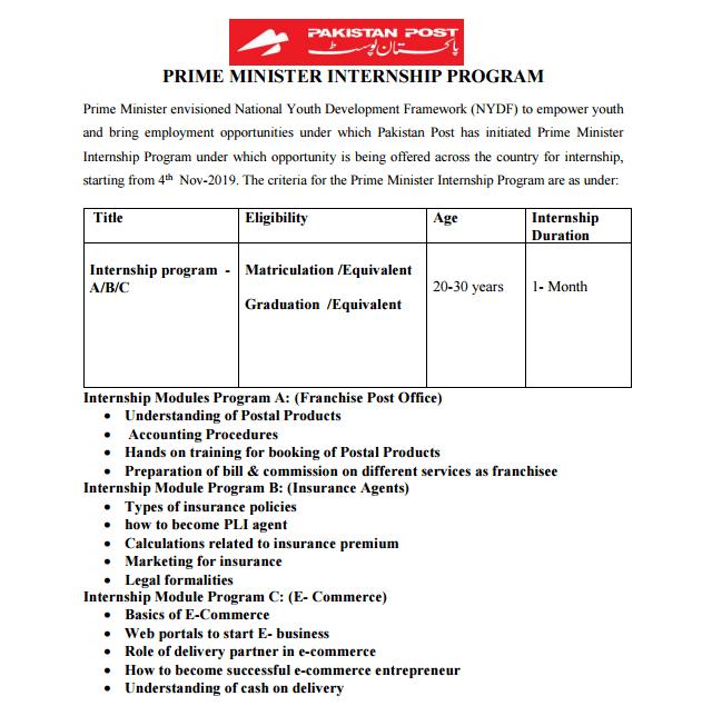 Pakistan Post Internship Program 2019