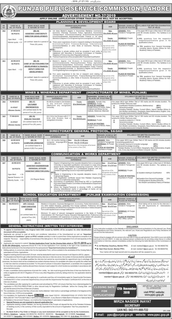 PPSC Jobs For Lecturers
