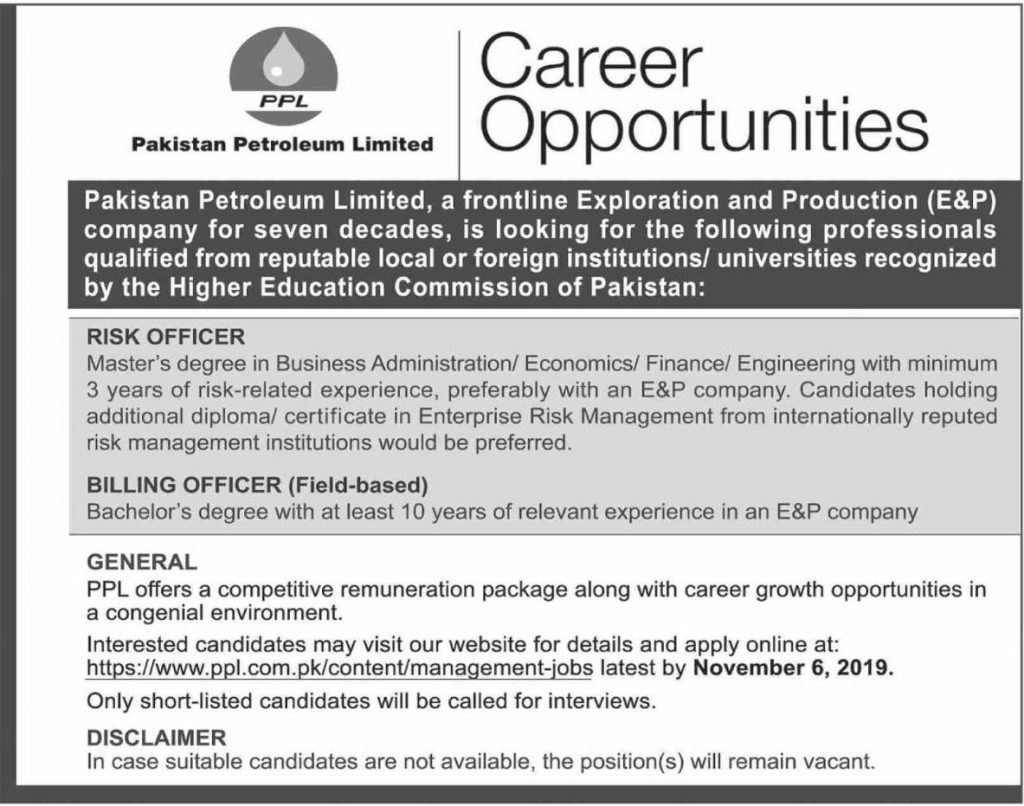Pakistan Petrolem Limited Jobs 2019