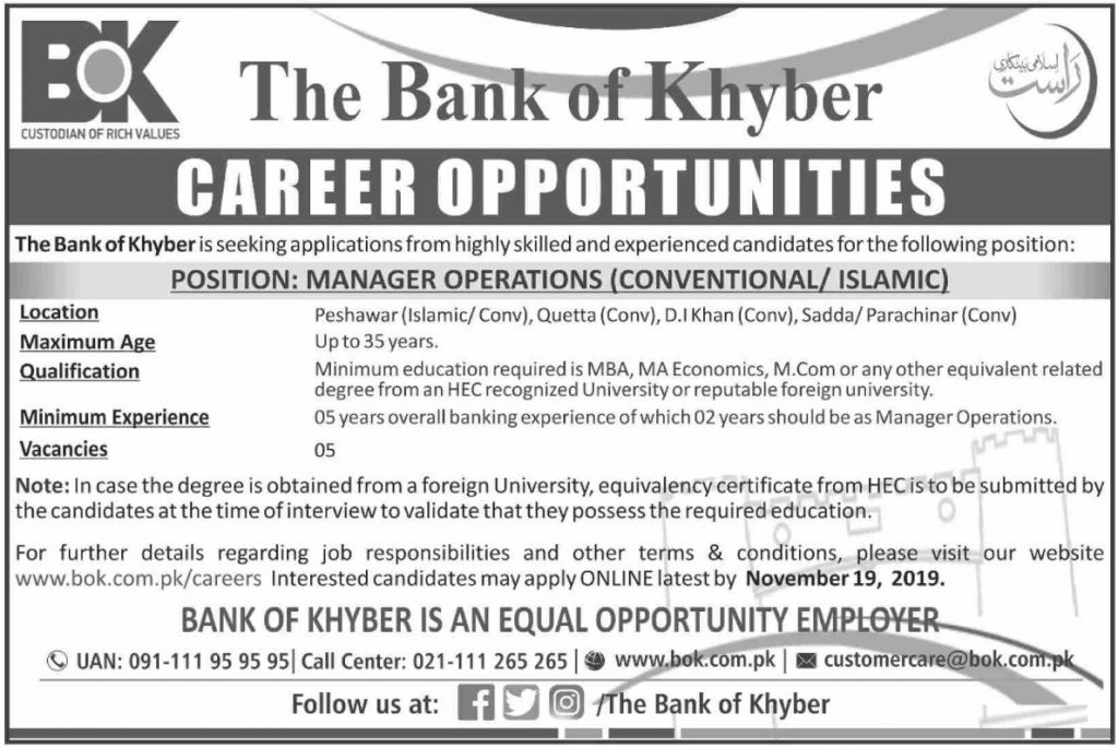 Bank of Khyber Jobs November 2019