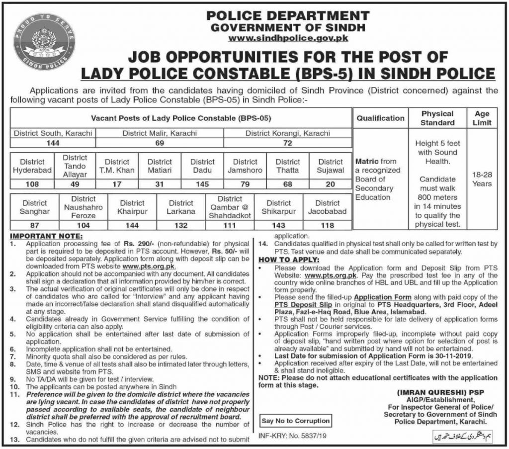 Sindh Police Jobs 2019 For Lady Constable