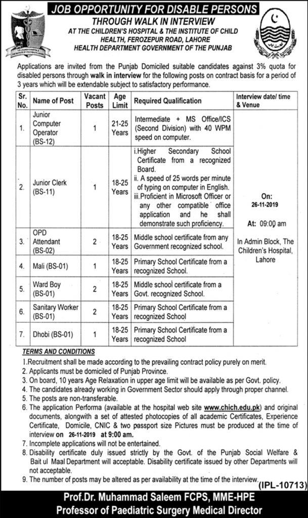 Children Hospital Lahore Jobs 2019