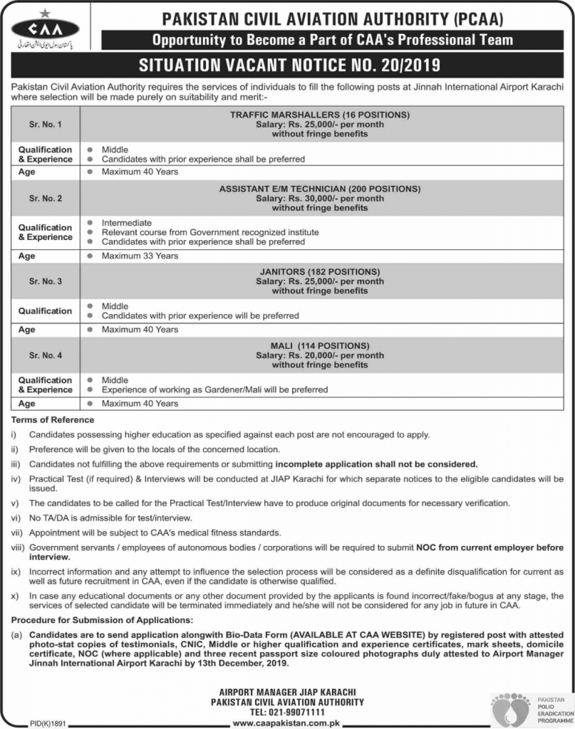 Jinnah International Airport Karachi Jobs 2019