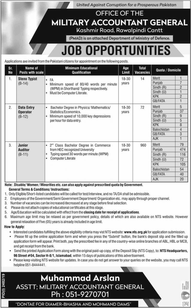 PMAD Jobs 2019 For Junior Auditor