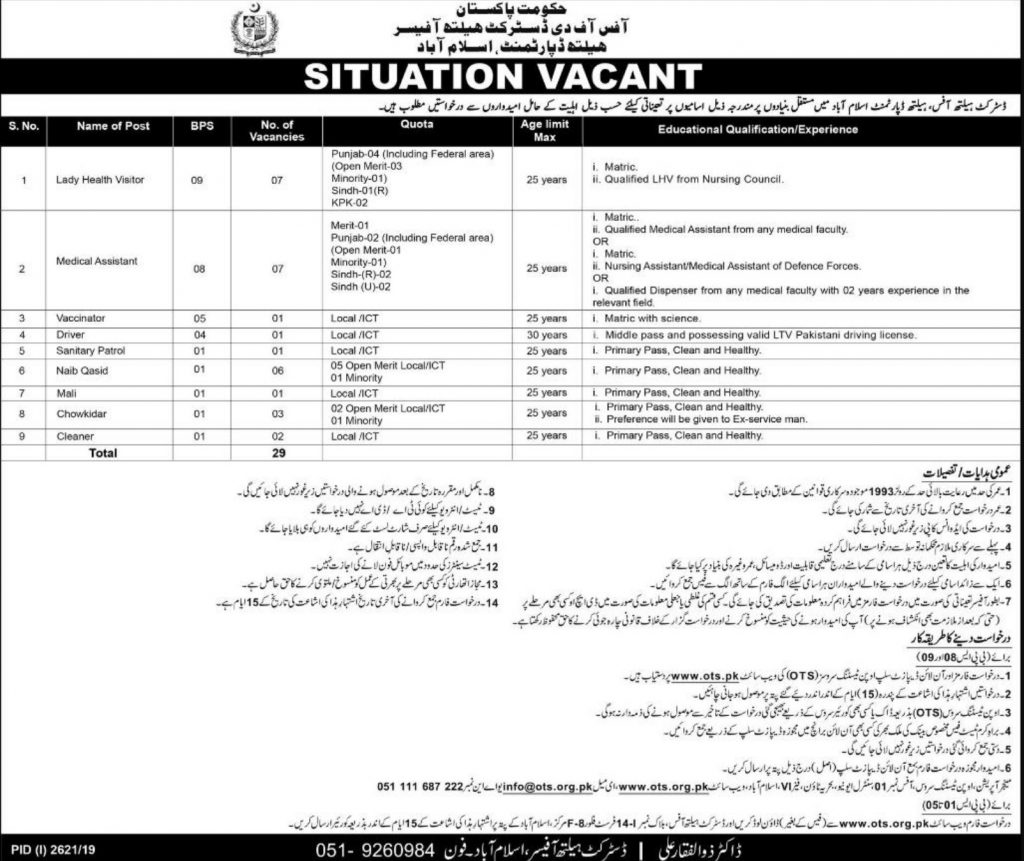 Health Department Islamabad Jobs 2019