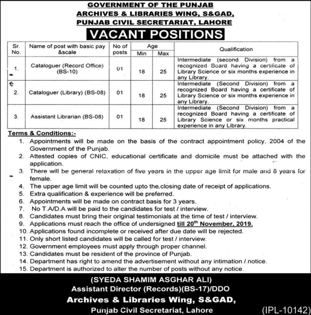 S&GAD Punjab Civil Secretariat Jobs 2019
