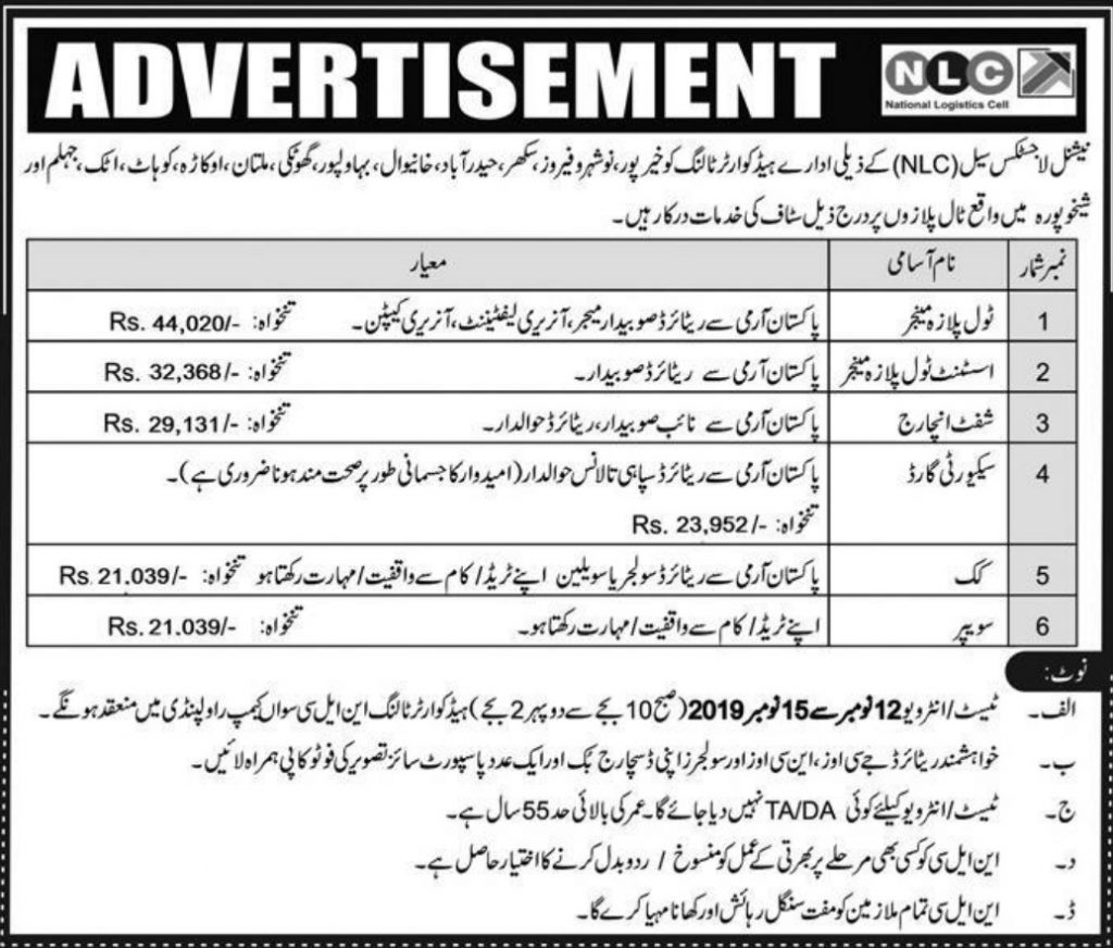 National Logistics Cell NLC Jobs 2019
