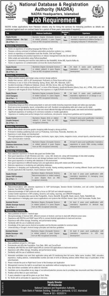 Nadra Headquarters Islamabad Jobs 2019
